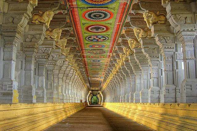 Corridor, Ramanathaswamy Temple, Rameshwaram, Tamil Nadu, India