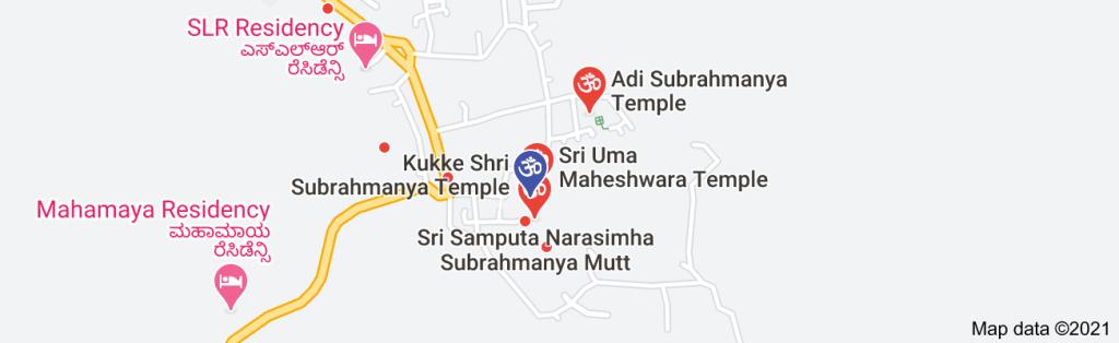 Map of temples around Kukke Subrahmanya